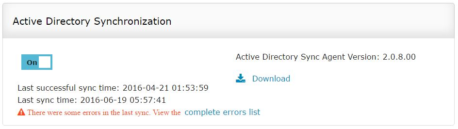 ADSync error log
