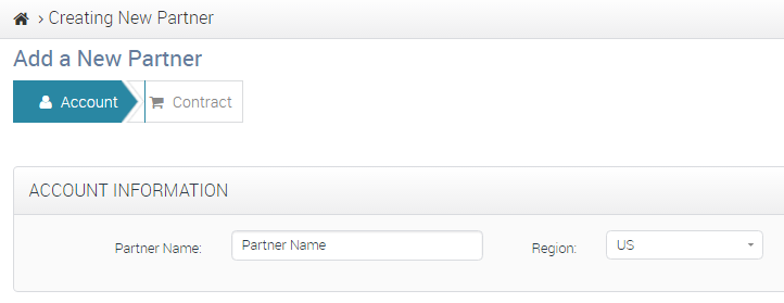 CWS Partner Addition Account Info Tab